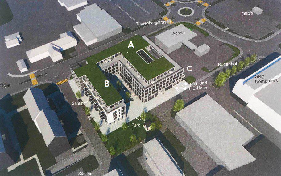 Der geplante Neubau ist U-förmig. An der lärmbelasteten Thorenbergstrasse soll der Neubau geschlossen sein.